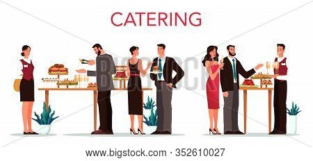 Catering Concept Illustration. Idea Of Food Service At The Hotel.