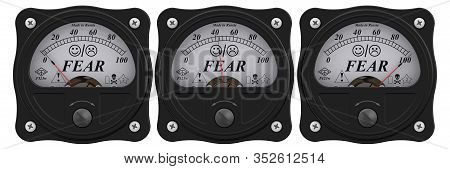 Indicator Of Fear. Set Of Black Analog Indicator Showing The Level Of Fear In Percentage. 3d Illustr