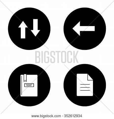 Ui, Ux Glyph Icons Set. Vertical Swap, Back Arrow, Notepad, File. Vector White Silhouettes Illustrat