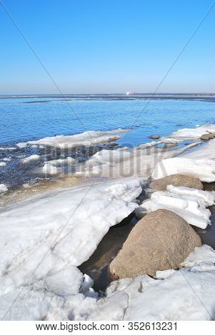 Saint-petersburg, Russia. Coast Of The Gulf Of Finland In A Sunny Spring Day In April