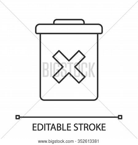 Delete Forever Button Linear Icon. Dustbin. Thin Line Illustration. Garbage Can, Trashcan. Do Not Di