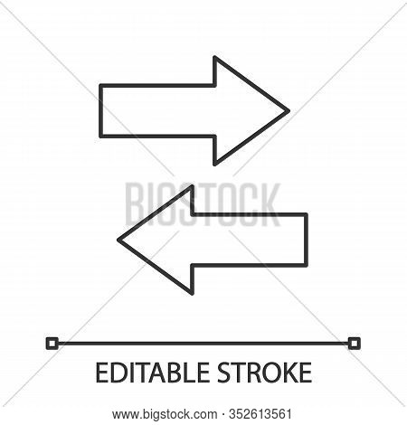 Horizontal Swap Linear Icon. Thin Line Illustration. Exchange Arrows. Horizontal Flip. Contour Symbo
