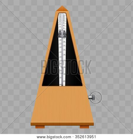 Classic Metronome With Pendulum. Vintage Wooden Style. Equipment Of Music And Beat Mechanism. Vector
