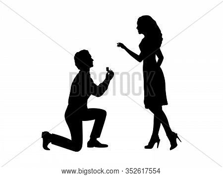 Silhouette Of Man Standing On Knee Makes An Offer To Marry Woman. Vector Illustration Icon