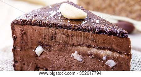 Chocolate Cake With Nuts, Brownie With Chestnut. Brazilian Chocolate Dessert With Brazil Nuts. Known