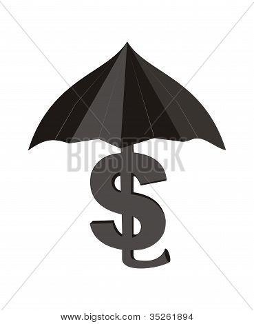 Dollar with an umbrella.