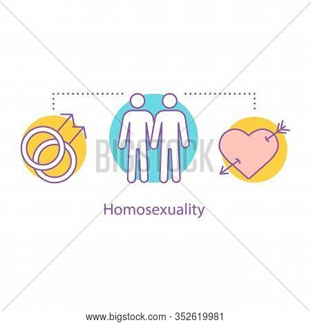 Homosexuality Concept Icon. Gay Relationships Idea Thin Line Illustration. Homosexual Orientation. S