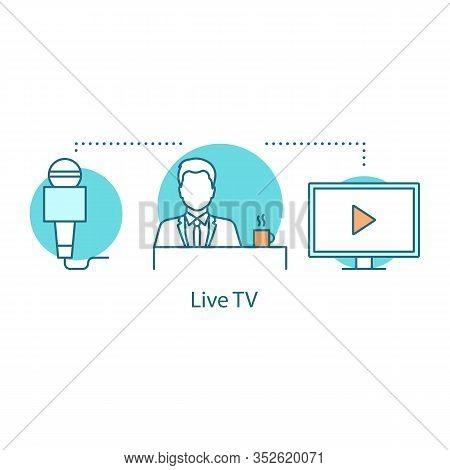 Live Tv Concept Icon. News Broadcasting Idea Thin Line Illustration. Mass Media. Breaking News. News