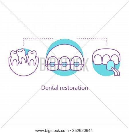 Dental Restoration Concept Icon. Stomatology Idea Thin Line Illustration. Dentistry. Teeth Aligning.
