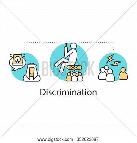 Racial And Religious Discrimination Concept Icon. Racism Idea Thin Line Illustration. Racial Segrega