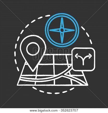 Choosing Travel Destination Chalk Concept Icon. Orienteering Idea. Navigation. Vector Isolated Chalk