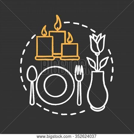 Cafe Or Restaurant Chalk Concept Icon. Special Occasion. First Date Idea. Romantic Supper. Vector Is