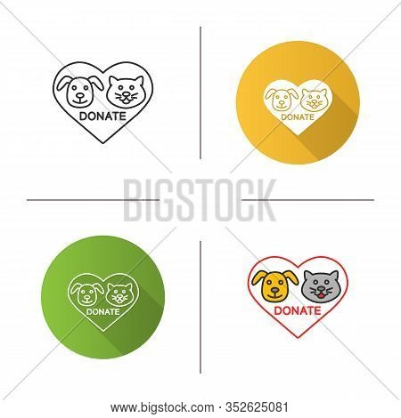 Donation For Pets Icon. Flat Design, Linear And Color Styles. Animals Welfare. Heart With Cat And Do