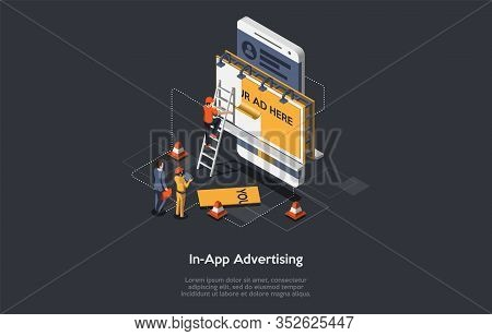 Internet Advertising Concept. Advertising Strategies And Development, Social Media. Marketers Search
