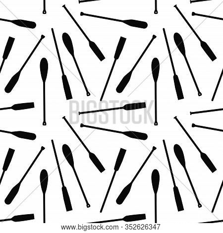 Seamless Pattern With Oars Paddle Silhouette On White Background. Printble Ornament For Home Decor I