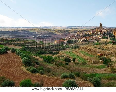 Catalan Landscape With The Cervera Town (lleida, Spain) On A Hill. Beautiful Rural Landscape With Em
