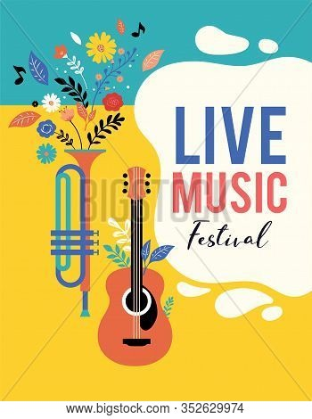 Summer Fest, Concept Of Live Music Festival, Jazz And Rock, Food Street Fair, Family Fair, Event Pos