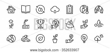 Set Of Icons On The Theme Of Ecology, Vector Lines, Contains Icons Such As Electric Car, Global Warm