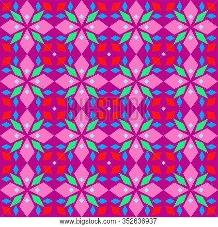Kaleidoscope, Seamless Pattern, Geometric, Lilac, Vector. Geometric Pattern. Multicolored, Flat Vect