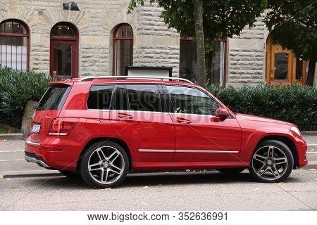 Gothenburg, Sweden - August 27, 2018: Red Mercedes-benz Glk Suv Parked In Gothenburg, Sweden. There