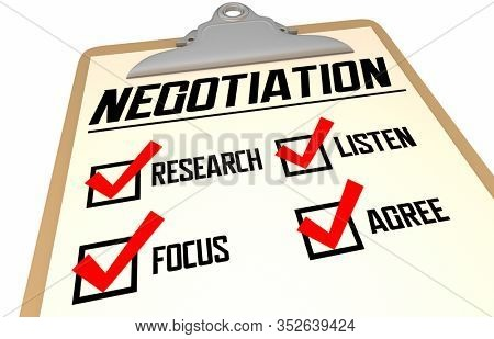 Negotiation Checklist How to Negotiate Get Best Deal Agreement 3d Illustration