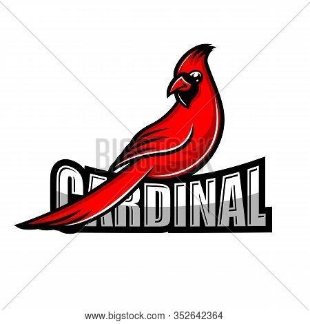 Modern Red Cardinal Bird Logo. Vector Illustration.