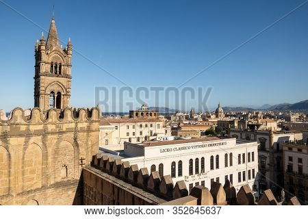 Palermo, Sicily - February 8, 2020: Liceo Classico Vittorio Emanuele Ii University Viewed From The R