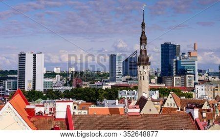 Tallinn, Estonia - August 2, 2019: Sightseeing Of Estonia. Aerial View Of Tallinn Old Town. The Clas