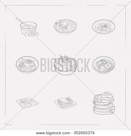 Set Of World Cuisine Icons Line Style Symbols With Khachapuri Adjaruli, Swiss Fondue, Thai Tom Yung