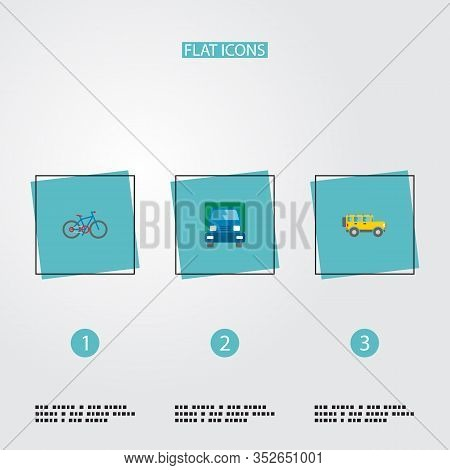 Set Of Vehicle Icons Flat Style Symbols With Lorry, Suv, Bike And Other Icons For Your Web Mobile Ap