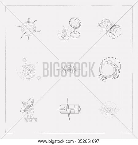 Set Of Science Icons Line Style Symbols With Physical Research, Astronaut Helmet, Cosmology And Othe