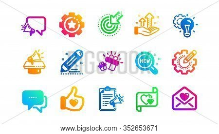 Business Strategy, Megaphone And Representative. Brand Social Project Icons. Influence Campaign, Soc