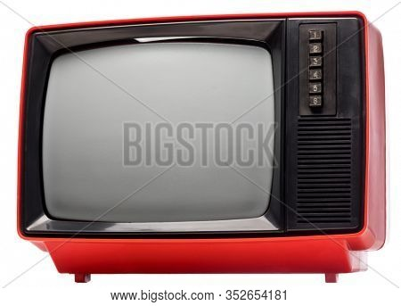 Generic eighties CRT TV receiver isolated on white background. Retro technology concept