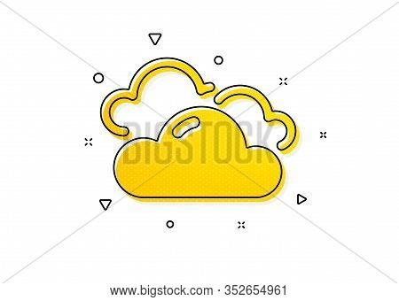 Clouds Sign. Cloudy Weather Icon. Sky Symbol. Yellow Circles Pattern. Classic Cloudy Weather Icon. G