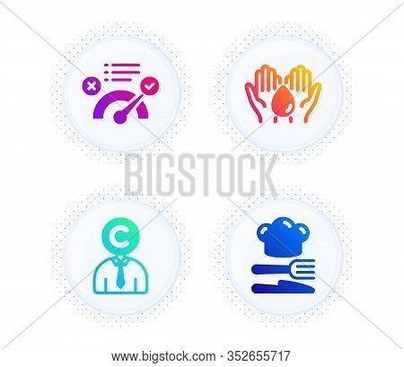 Correct Answer, Wash Hands And Copyrighter Icons Simple Set. Button With Halftone Dots. Food Sign. A