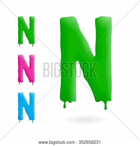 Letter N Logo. Green, Blue And Pink Character With Drips. Dripping Liquid Symbol. Isolated Vector.