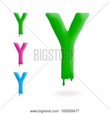 Letter Y Logo. Green, Blue And Pink Character With Drips. Dripping Liquid Symbol. Isolated Vector.