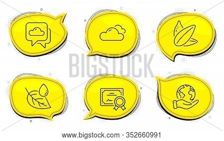 Leaf Dew Sign. Diploma Certificate, Save Planet Chat Bubbles. Weather Forecast, Sunflower Seed And C