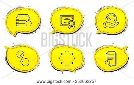 Maximize Sign. Diploma Certificate, Save Planet Chat Bubbles. Search File, Recovery Server And Check