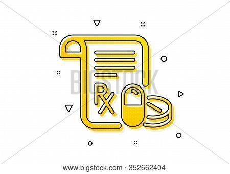 Medicine Pills Sign. Medical Prescription Icon. Pharmacy Medication Symbol. Yellow Circles Pattern.
