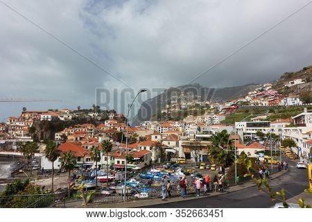 Camara De Lobos, Portugal - March 1, 2018: View Of Camara De Lobos In Madeira With Cape Girao On The