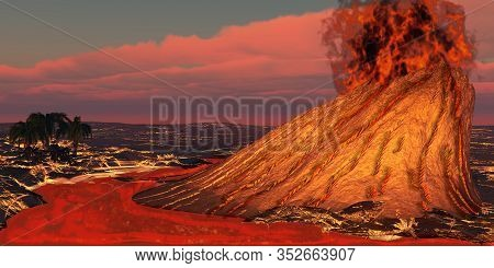 Hawaii Volcano 3d Illustration - Plumes Of Smoke Belch From The Mouth Of A Newly Formed Volcano Caus