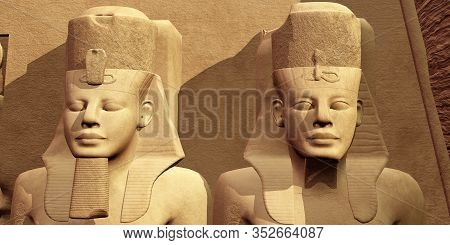 The Faces Of Abu Simbel 3d Illustration - Ramses The Great Built The Temple Complex Of Abu Simbel To