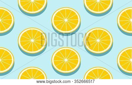 Seamless Blue Background With Grapefruit Slices With Shadow. Vector Fruit Design For Pattern Or Temp