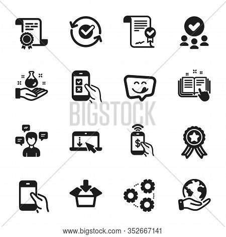 Set Of Technology Icons, Such As Conversation Messages, Scroll Down. Certificate, Approved Group, Sa