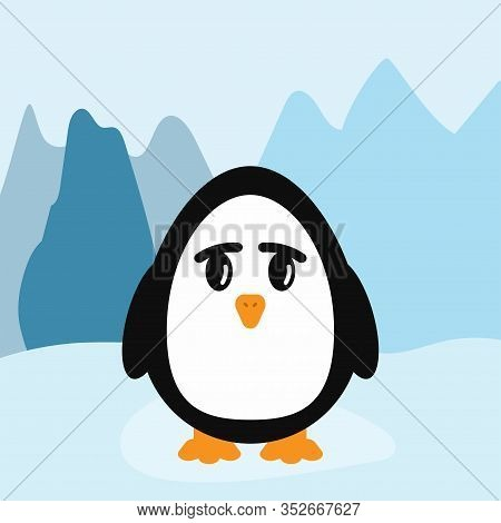 Funny Little Penguin On Background Of Icy Mountains. Flat Vector Illustration.