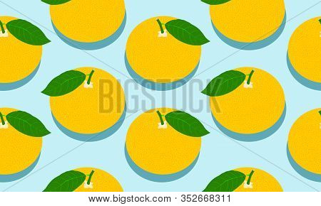Seamless Blue Background With Grapefruit With Shadow. Vector Fruit Design For Pattern Or Template.