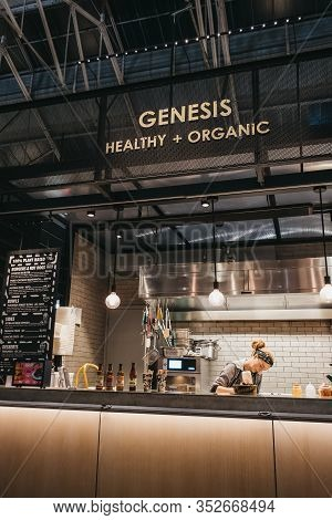 London, Uk - November 29,2019: Woman Works At Genesis Stall In Spitalfields Market, One Of The Fines