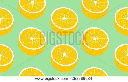 Seamless Background With Halves  Grapefruit. Vector Fruit Design For Pattern Or Template.