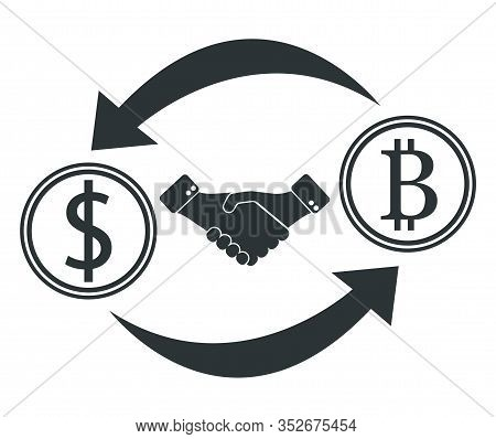 Currency Converter From Dollar To Bitcoin, Dollar Icon And Bitcoin Icon.